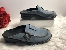 RARE! SANITA Size 10.5 US Blue Leather Open-Back Buckle Clogs Mules Heel