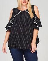 Plus Size Black White Polka Dot Cold Shoulder Ruffle Blouse Shirt Top