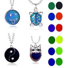 Charm Emoji Sensitive Thermo Mood Color Change Pendant Necklace Womens Jewellery