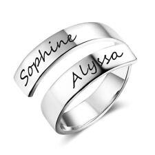 Personalized Engrave Name Rings Custom Women Engagement Wedding Ring Adjustable