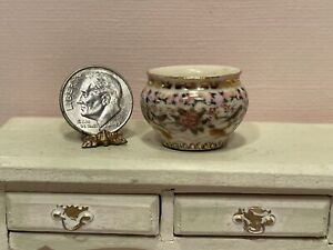 Vintage Artisan JEAN TAG Asian Inspired Porcelain Pot Dollhouse Miniature 1:12