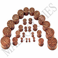 V097 Double Flare Acrylic Leopard Cheetah Print Earlets Saddle Plugs 10G to 1""