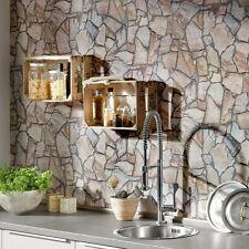 Stunning Stone Mosaic Brick Effect Wallpaper, Pink,Yellow, Beige & Grey Tones