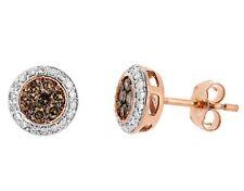 0.49ct COGNAC CHAMPAGNE-BROWN & WHITE DIAMOND STUD EARRINGS 14K ROSE PINK GOLD