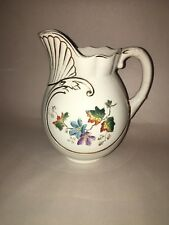 Staffordshire White Ironstone Pitcher With Enamel Leaf And Flower Decoration