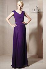 Alyce Jean De Lys 29593 Long Poly Chiffon V-Neck Dress sz 16 NWT New