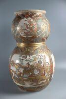 """Double Gourd Asian Japanese Satsuma Vases Meiji Period LARGE 12"""""""
