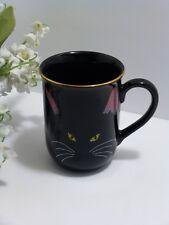 Fabulous OTAGIRI BLACK Porcelain Cat GOLD RIM MUG~CUP Design BY CHERYL FLEISCHER