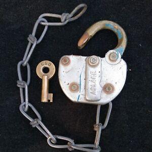 Vintage Adlake Adams & Westlake Co C.M. C & O Railroad Lock with key &  Chain