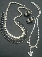 3 Pc. Vintage Black Jet and Clear Pronged Rhinestone Choker Necklace & Earrings