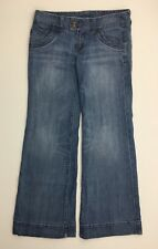 "X2 Womens Jeans Blue Denim Distressed Flare Size 10 Long Spandex 34"" Waist"