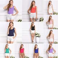 Fashion Women Candy Color Chiffon Basic Tank Tops Vest Sleeveless O-Neck T-shirt