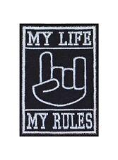 My Life my rules devilhand Biker patches écusson Bügelbild MC Heavy Metal Music