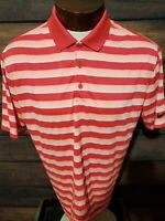 Nike Dri Fit Mens Large Pink Red Blue Striped Short Sleeve Golf Polo Shirt NWOT