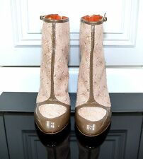 Missoni beige sand basket weave knit patent heel ankle boots shoes EU38/ UK5