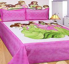 KHF Rajasthani Barbie King Size Cotton Bedsheet with 2 Pillow Covers Pink