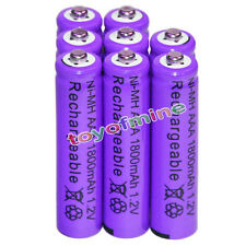 8x AAA battery batteries Bulk Nickel Hydride Rechargeable NI-MH 1800mAh 1.2V Pur