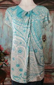 Womens Etro 44 M Teal Blue Gray Draped Top Blouse Twist Paisley Print Cap Sleeve