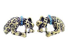 Bronce Roaring Leopardo Con Un Brillante Azul De Cristal Cuello. feroz Aretes