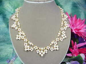 Gorgeous Woven Beige Glass Pearl Fully Beaded Collar Necklace  .   A~K~N Design