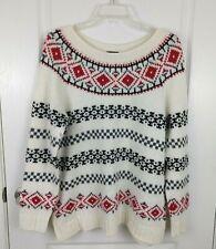 Talbots Womens Cream Fair Isle Pullover Knit Wool Blend Sweater Size L Petites