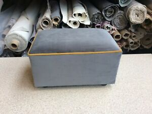 footstool / pouffe upholstered in Grey Velvet