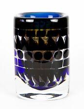 INGEBORG LUDIN for ORREFORS -ARIEL- c1973 BLUE/CLEAR GLASS VASE No.179, SIGNED