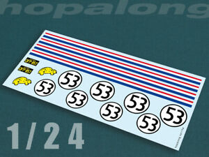 Scalextric/Slot Car 1/24 Scale Waterslide Decals - ts119w (Herbie)