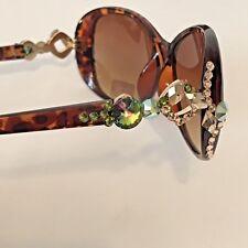 Swarovski Crystal Embellished Designer Sunglasses Tortoiseshell Green Peach Gold