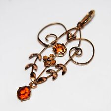 Edwardian Citrine 9ct Rose/Yellow Gold Lavaliere Necklace Pendant