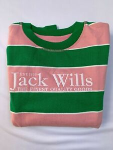 Jack Wills Mens Crew Neck Jumper Sweater Pullover Striped Salmon/Green SIZE M