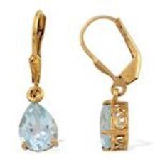 Topaz Pear Leverback Fine Gemstone Earrings