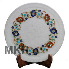 """12"""" Wall Decorative Marble Inlay Plate Antique Serving Stone Vintage Marquetry"""
