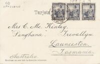 APH548) Argentina 1904. 3 x undivided back picture postcards to Launceston