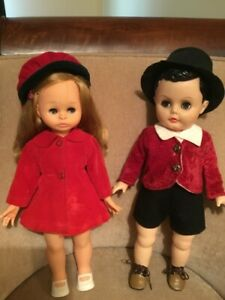 Vintage 2 Dee & Cee 1960's vinyl boy and girl dolls original outfits - awesome !