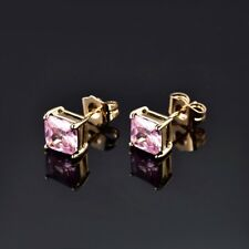 Wholesale Lady Yellow Gold Filled Princess Pink sapphire Crystal Stud Earring
