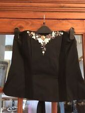 BNWOT Tailored By NEXT Black Basque Style Top With Floral Beaded Detail Size 14