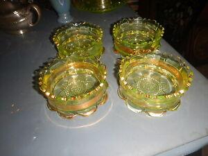 4 RIVERSIDE RANSON GOLD BAND PATTERN VASELINE GLASS BERRY/SAUCE BOWLS 1899