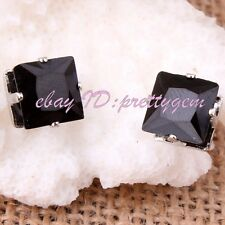 8mm Square Cz Crystal No Ear Hole Men'S Unisex Magnetic Stud Earrings 1 Pair