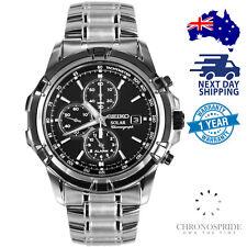 SEIKO Solar Chronograph SSC147P1 SSC147 Black Dial Stainless Steel Alarm Watch