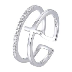 925 STERLING SILVER Cross Adjustable Ring w/ Cubic Zirconia Stones Religious