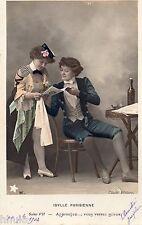 BK708 Carte postale Photo vintage card RPPC couple fantaisie Idylle Parisienne