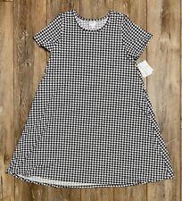 LULAROE Jessie DRESS size Large Black and White HOUNDSTOOTH with Pockets NWT