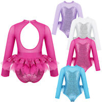 Kid Girls Sequin Long Sleeve Modern Dancewear Leotard Dress Jazz Hip Hop Costume