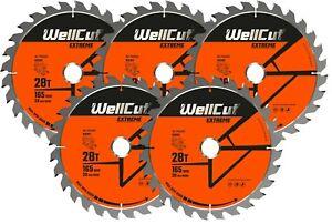 5 x WellCut Plunge TCT Saw Blade 165mm x 28T x 20mm DWS520 DCS520 SP6000 GKT55