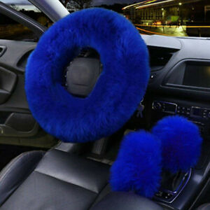 3x Winter Faux Wool Fur Car Steering Wheel Cover Blue Plush Auto Car Accessories