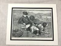 1887 Antique Print Pheasant Shoot Gamekeeper Hunting Dogs Victorian Painting