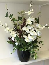 Artificial Flower Arrangement, Ivory Orchid, Berry Display, Black Vase