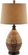 Rattan Table Lamp 2-Tone Brown Chunky Woven Natural Fiber Weave Nautical Accent