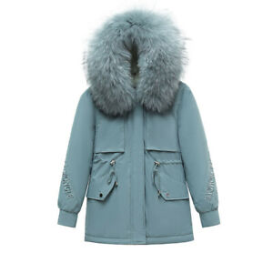 Womens Fur Lined Coat Winter Warm Thick Jacket Outdoor Hooded Parka Overcoat UK